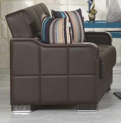 """Casamode UCLS 62"""" Convertible Love Seat with Matching Pillows, Storage Under the Seat, Curved Wood-like Arms, Polished Metal Accents and Tufted Detailing Upholstered in"""