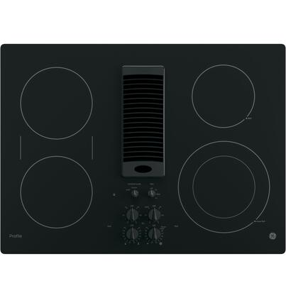 """GE Profile PP9830 30"""" Downdraft Electric Cooktop with 4 Radiant Elements, Infinite Heat Rotary, Control Lock Capability and Front Center Control"""