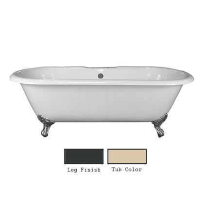 """Barclay CTDRN68X Duran 68"""" Cast Iron Double Roll Tub with Imperial Feet and White Enamel Interior, in"""