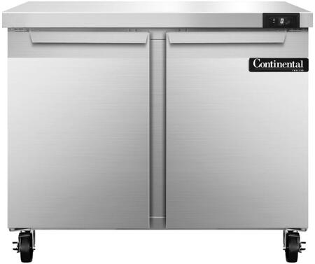 "Continental Refrigerator SWF3X 36"" Worktop Freezer with 10.3 Cu. Ft. Capacity, Stainless Steel Exterior and Interior, 5"" Casters, Interior Hanging Thermometer, and Environmentally-Safe Refrigerant, in Stainless Steel"