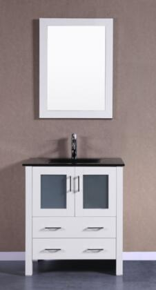Bosconi Bosconi Single Vanity with Soft Closing Doors , Drawers,Top,  Faucet and 1 Mirror in White and Sink in Black