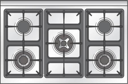 "Verona VEFSGG365N 36"" Freestanding Pro Style Single Oven Gas Range with 4.0 cu. ft. Capacity, 5 Sealed Burners, Turbo-Electric Convection oven, Bell Timer and Infrared Broiler in"