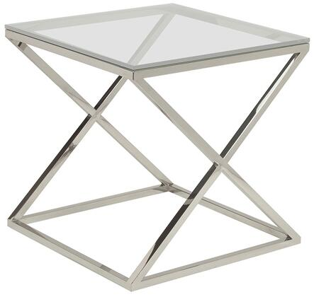 "Allan Copley Designs 20804-02-XX 24"" Wide Excel Square End Table With XX Glass Top On Polished Stainless Steel Base, 1/2"" Thick Lay-On XX Glass Top, ""X"" Base Design"