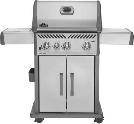 """Napoleon R425SI 51"""" Rogue 425 SIB Series Freestanding Grill with 625 sq. in. Cooking Surface, 3 Stainless Steel Tube Burners, Sizzle Zone Side Burner, Wave Cooking Grids, and Warming Rack, in Stainless Steel"""