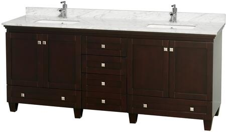 "Wyndham Collection Acclaim 80"" Double Bathroom Vanity with 4 Doors, 6 Drawers, 3"" Backsplash, Brushed Chrome Hardware, White Carrera Marble Countertop and Undermount Square Sink in"