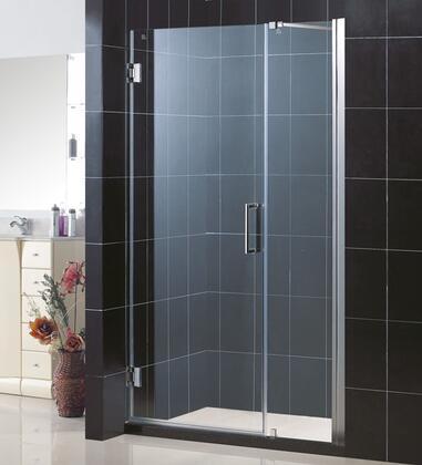 """DreamLine SHDR-20537210C DreamLine Unidoor 53 to 54"""" Frameless Clear 3/8"""" Glass Door Hinged Shower Door in"""