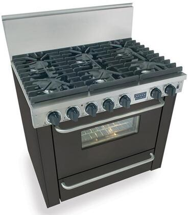 """FiveStar TPN3117 36"""" Freestanding Gas-Liquid Propane Range With 6 Sealed Ultra High-Low Burners, 3.69 Cu. Ft. Manual Clean Oven, Broiler Drawer, 120 Volts, 5 Amps, In"""