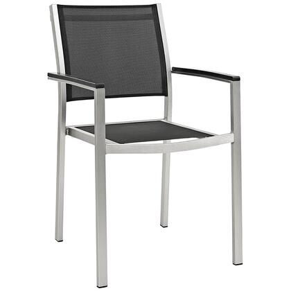 Modway EEI2272SLVBLK Shore Series  Aluminum Frame  Patio Arm Chair