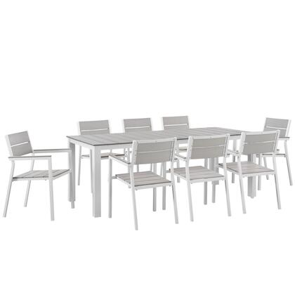 Modway Maine Collection EEI-1753- 9-Piece Outdoor Patio Dining Set with Dining Table and 8 Armchairs in