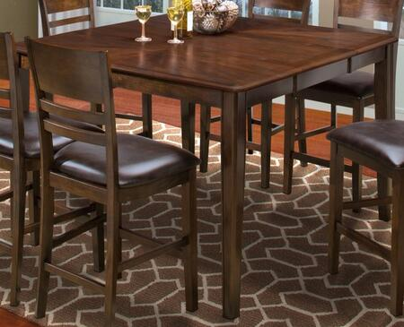 "New Classic Home Furnishings 45-150-11 Latitudes 54"" Cut Corner Counter Height Dining Table with Tapered Legs, Apron, Extension Leaf, Hardwood Solids and Veneers, in"