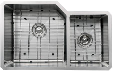 """Kraus KHU12332KPF21SD20 Precision Series 32"""" 60/40 Double-Bowl Kitchen Sink with Stainless Steel Construction, NoiseDefend, and Included Kitchen Faucet"""