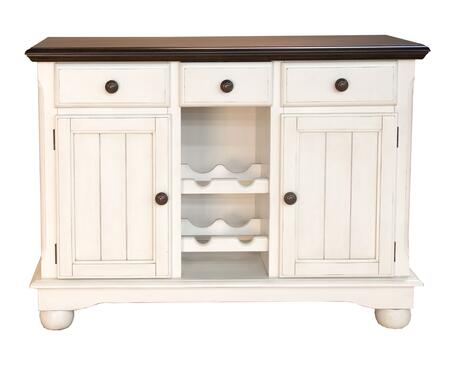 "AAmerica British Isles Collection 9010 48"" Server with Faux Center Drawer with Pull-out Wine Glass Storage, 4 Bottle Wine Rack and Adjustable Shelves in"