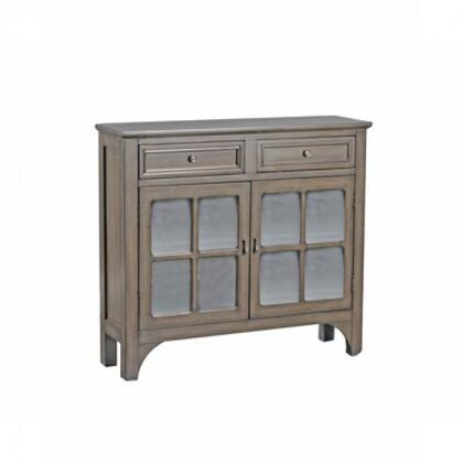 "Powell Campbell Collection 15A8185 40"" Console with Two Wide Drawers, Two Glass Doors with Fretwork and Interior Shelf in"