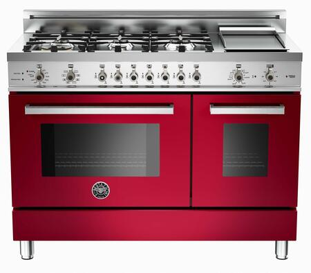 "Bertazzoni PRO486GDFSVILP 48"" Professional Series Dual Fuel Freestanding Range with Sealed Burner Cooktop, 3.4 cu. ft. Primary Oven Capacity, in Burgundy"
