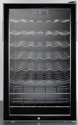 "Summit SWC525L7BIx 20"" Wine Cellar with 8 Wine Racks, 40 Wine Bottle Capacity, Automatic Defrost, and Lock, in Black"