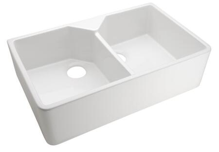 """Barclay FS 31.5"""" Fireclay Double Bowl Farmer Sink with in"""