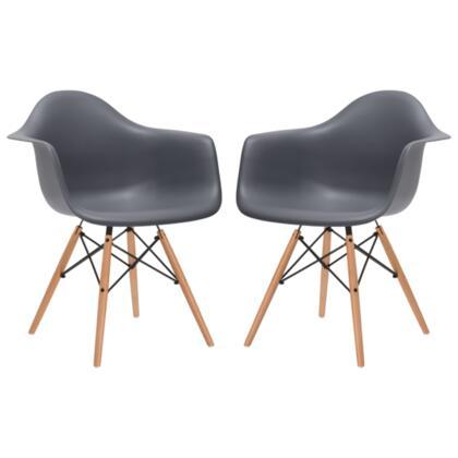 EdgeMod EM110NATGRYX2 Vortex Series Modern Wood Frame Dining Room Chair