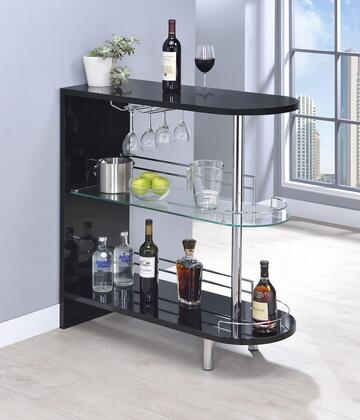 "Coaster 1010XXBAR 39"" Bar Unit with 1 Tempered Glass Shelf, Stemware Racks, Chrome Metal Guardrails, Steel Metal and MDF Wood Construction in"