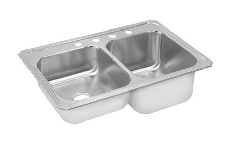 "Elkay STCR3322L Gourmet Celebrity Stainless Steel 33"" x 22"" Double Basin Top Mount Kitchen Sink"