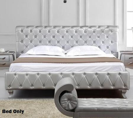 VIG Furniture VGKCMONTEPLATINUMK Monte Carlo Series  King Size Panel Bed