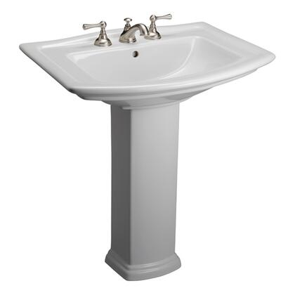 """Barclay 3-41 Washington 650 Pedestal Lavatory, with Pre-drilled Faucet Hole, 7.5"""" Basin Depth, and Vitreous China Construction, in White"""