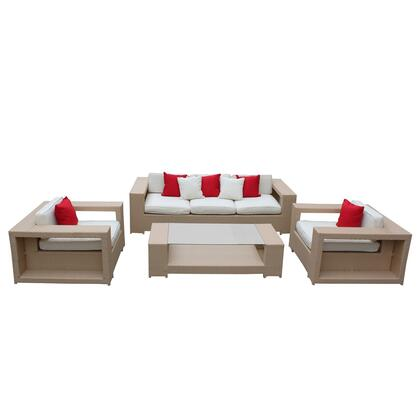 Modway EEI646TANWHI Modern Rectangular Shape Patio Sets