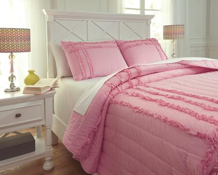 Milo Italia Annika Collection C3010TMP PC Size Quilt Set includes 1 Quilt and Standard Sham with Solid Design and Cotton Material in Pink Color
