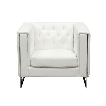 Diamond Sofa CHELSEACHWH Chelsea Series Armchair with Metal Frame in White