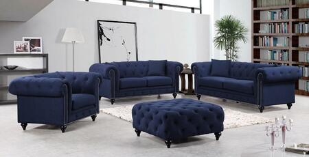 Meridian 662NAVYSLCO Chesterfield Living Room Sets