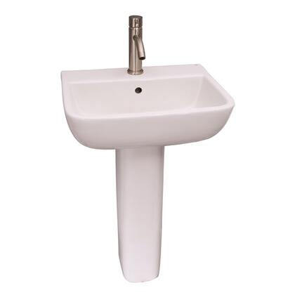 "Barclay 3-21WH Series 600 Pedestal Lavatory, with Overflow, 5.625"" Basin Depth, and Vitreous China Construction, in White"
