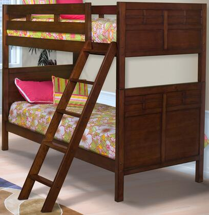 New Classic Home Furnishings 05-060-BB Kensington Bunk Bed with Detailed Molding, Ladders, and Contemporary Design, in Burnished Cherry