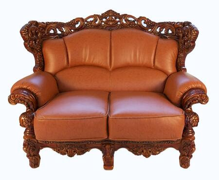 J. Horn 2189BROWNL 2189 Series Leather Stationary with Wood Frame Loveseat