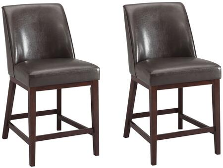 "Acme Furniture Valor Collection Set of 2 26"" Counter Height Chairs with Footrest Support, Espresso Tapered Legs, Welt Piping and PU Leather Upholstery in"