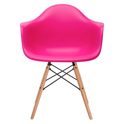 """EdgeMod Vortex Collection 24.6"""" Arm Chair with Beech Wood Tapered Legs, Wire Base, Non-Marking Feet and Polypropylene Plastic Seat in"""