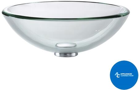 "Kraus GV10119MMX Singletone Series 17"" Round Vessel Sink with 19-mm Tempered Clear Glass Construction Easy-to-Clean Polished Surface, and Included Pop-Up Drain with Mounting Ring"