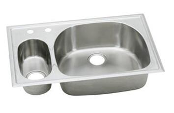 """Elkay ECGR3322L Harmony Stainless Steel 33"""" Double Basin Self Rimming Kitchen Sink:"""