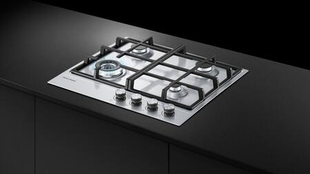 """Fisher Paykel CG244D 24"""" Gas Cooktop with 4 Burners, Auto-Reignition, Electronic Ignition, Innovalve Technology and Spill Containment, in Stainless Steel:"""