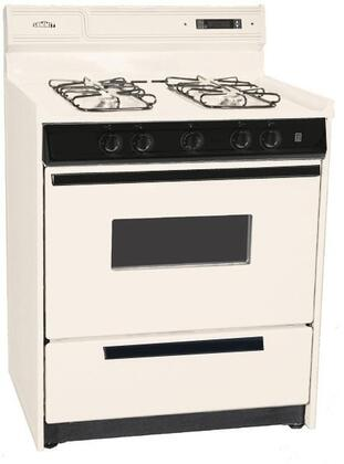 "Summit SLM2307CKW 30"" Gas Freestanding Range with Open Burner Cooktop, 3.69 cu. ft. Primary Oven Capacity, Broiler in Bisque"
