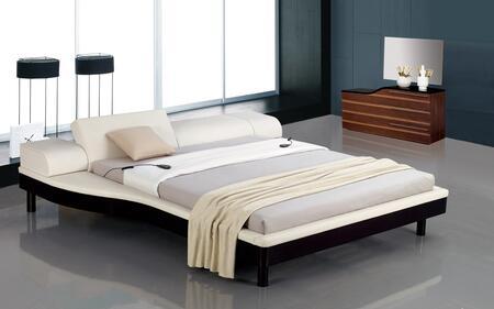 VIG Furniture VGWCPORTOFINO-WHT Modrest Portofino - White Adjustable Leather Bed with Built-In Nightstands