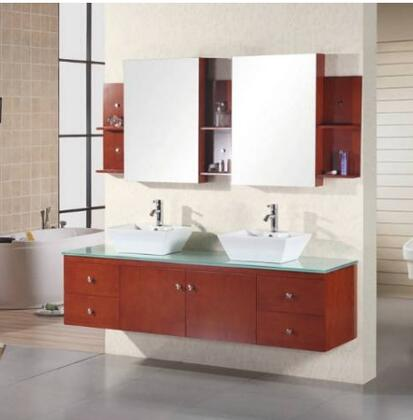 "Design Element DEC071 Portland 72"" Double Sink Vanity Set in"