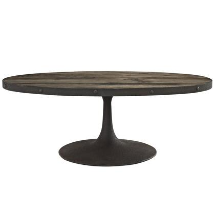 Modway EEI-1204 Drive Wood Top Coffee Table with Industrial Modern Design, Pine Wood Oval Top, Iron Rim, and Cast Iron Pedestal Base