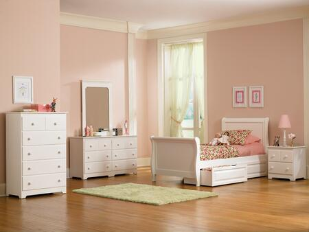 Atlantic Furniture SLEIGHMFTWINWH Sleigh Series  Twin Size Sleigh Bed