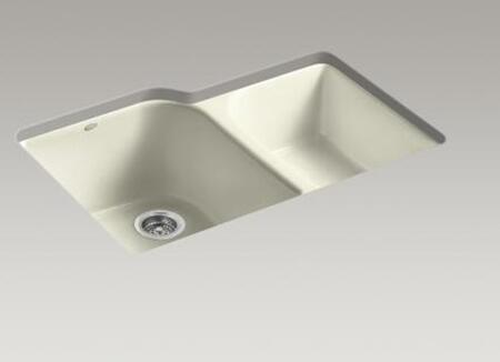 Kohler K-5931-4U- Double Basin Cast Iron Kitchen Sink from the Executive Chef Series: