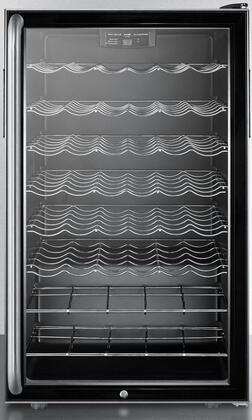 Summit SWC525LBIX Built-In Capable Glass Door Wine Cellar with 40 Bottles Capacity, 6 Wine Shelves, Automatic Defrost and Factory Installed Lock, in Black