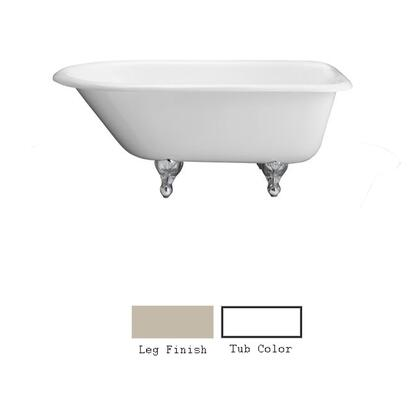 """Barclay CTRNTD66 66"""" Cambridge Cast Iron Roll Top Tub with Overflow and No Faucet Holes in"""