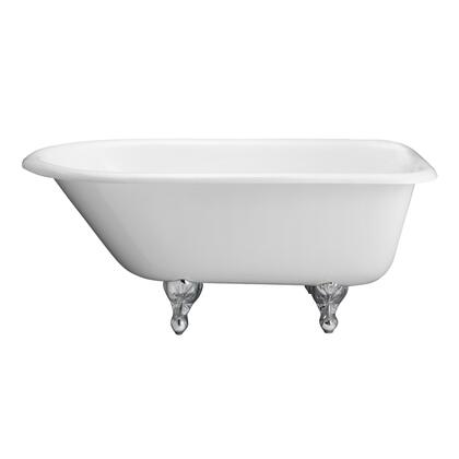 """Barclay CTRH61M 61"""" Breana Cast Iron Roll Top Tub with Overflow, 3-3/8"""" Wall Holes and Ball Feet Finished in:"""