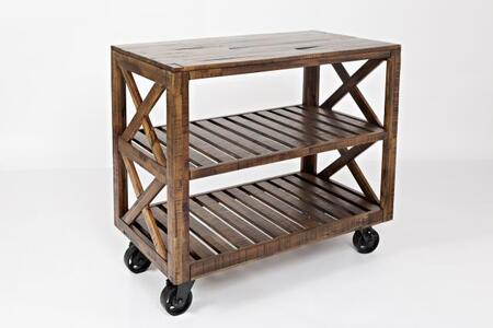 "Jofran Loftworks Collection 1694-XX XX"" Trolley Cart with Locking Industrial Casters in Brown"