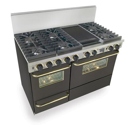 "FiveStar TTN5377SW 48""  Black with Brass Dual Fuel Freestanding Range with Sealed Burner Cooktop, 3.69 cu. ft. Primary Oven Capacity, Broiler"