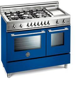 Bertazzoni X486GPIRBL Professional Series Dual Fuel Freestanding Range with Sealed Burner Cooktop, 2.9 cu. ft. Primary Oven Capacity, in Blue