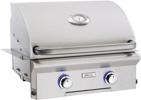 "American Outdoor Grill 24NBx 24"" Built-In Natural Gas Grill with 432 sq. in. Grilling Surface, 32000 BTU Total Main Burner Output, 2 Burners, Warming Rack, and Drip Tray, in Stainless Steel"